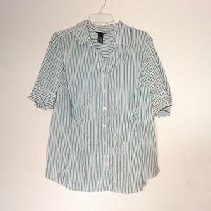 Lane Bryant Blue Black Stripe Short Sleeve Top